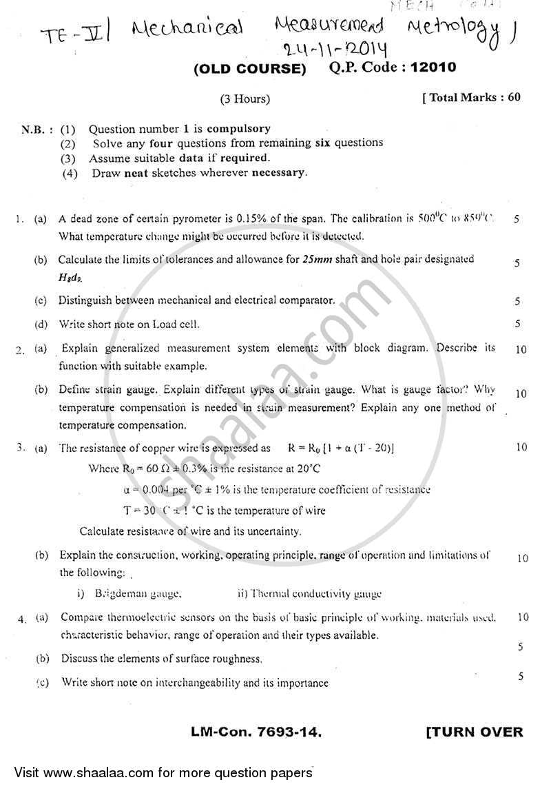 Question Paper - Mechanical Measurement and Metrology 2014 - 2015 - B.E. - Semester 5 (TE Third Year) - University of Mumbai
