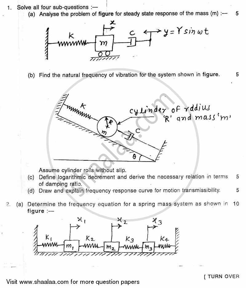 Mechanical Vibrations 2010-2011 - B.E. - Semester 6 (TE Third Year) - University of Mumbai question paper with PDF download
