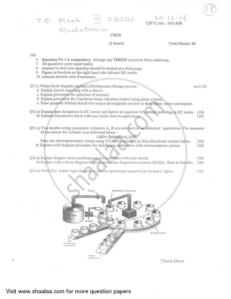 Mechatronics 2016-2017 - B.E. - Semester 6 (TE Third Year) - University of Mumbai question paper with PDF download