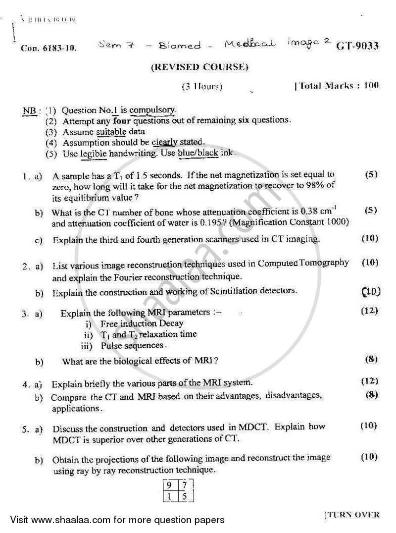 Question Paper - Medical Imaging-2 2010 - 2011 - B.E. - Semester 7 (BE Fourth Year) - University of Mumbai