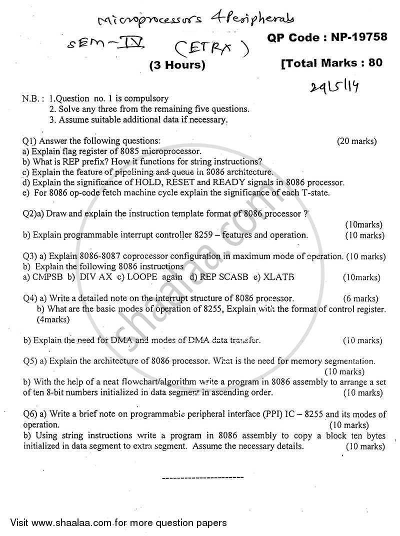 Question Paper - Microprocessor and Peripherals 2013 - 2014 - B.E. - Semester 4 (SE Second Year) - University of Mumbai