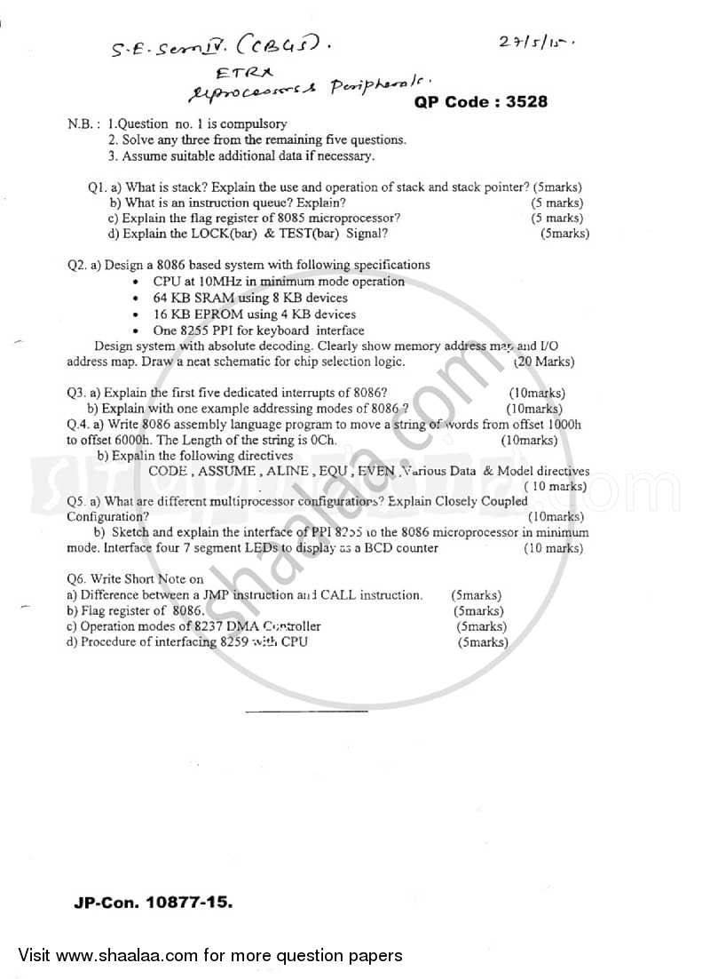 Question Paper - Microprocessor and Peripherals 2014 - 2015 - B.E. - Semester 4 (SE Second Year) - University of Mumbai