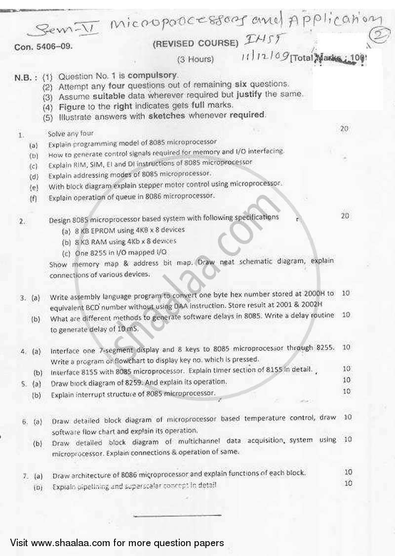 Question Paper - Microprocessors and Applications 2009 - 2010-B.E.-Semester 5 (TE Third Year) University of Mumbai