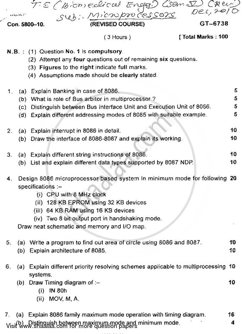 Question Paper - Microprocessors 2010 - 2011 - B.E. - Semester 5 (TE Third Year) - University of Mumbai