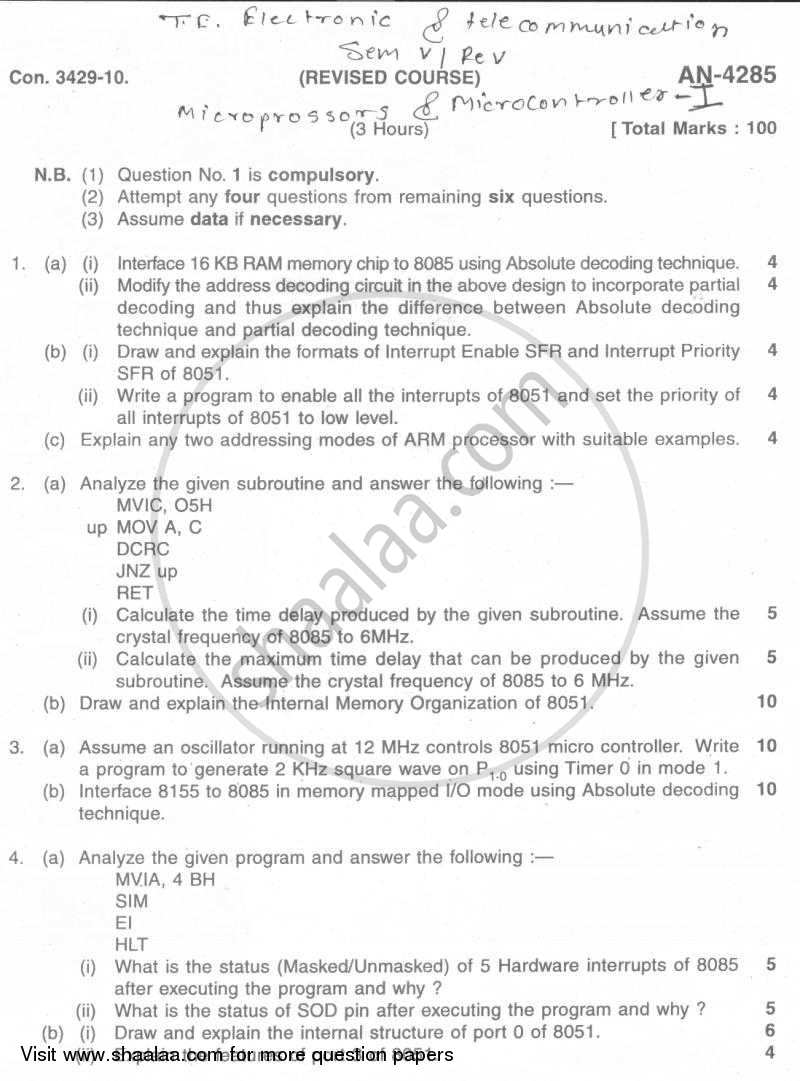 Question Paper - Microprocessors and Microcontrollers 1 2009 - 2010 - B.E. - Semester 5 (TE Third Year) - University of Mumbai