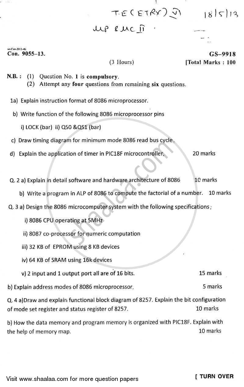 Microprocessors and Microcontrollers 1 2012-2013 - B.E. - Semester 5 (TE Third Year) - University of Mumbai question paper with PDF download