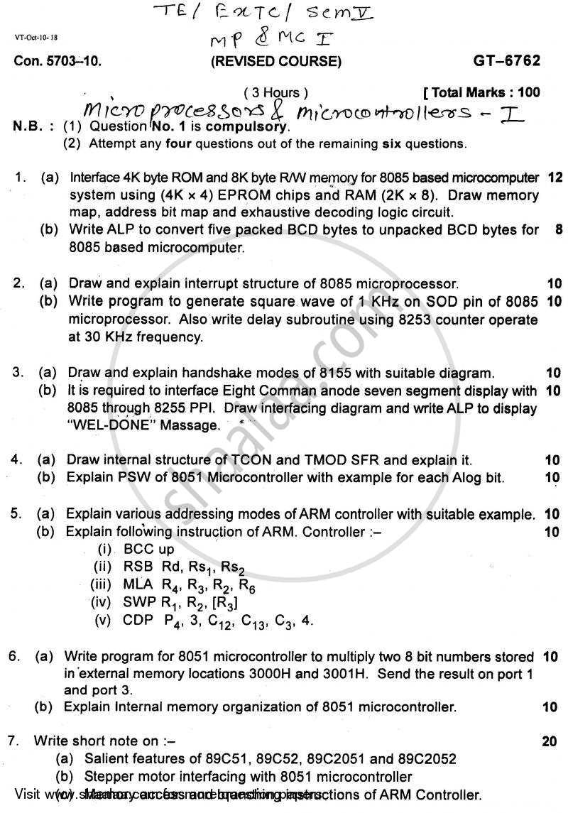 Question Paper - Microprocessors and Microcontrollers 1 2010 - 2011 - B.E. - Semester 5 (TE Third Year) - University of Mumbai