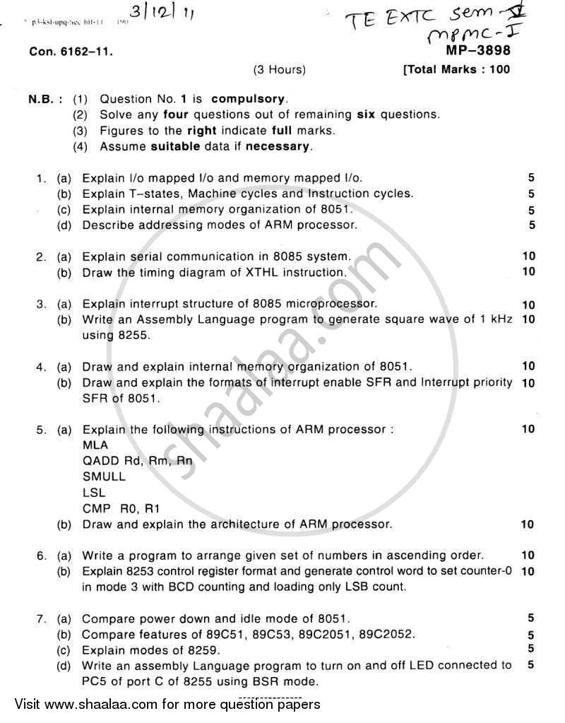 Question Paper - Microprocessors and Microcontrollers 1 2011 - 2012 - B.E. - Semester 5 (TE Third Year) - University of Mumbai