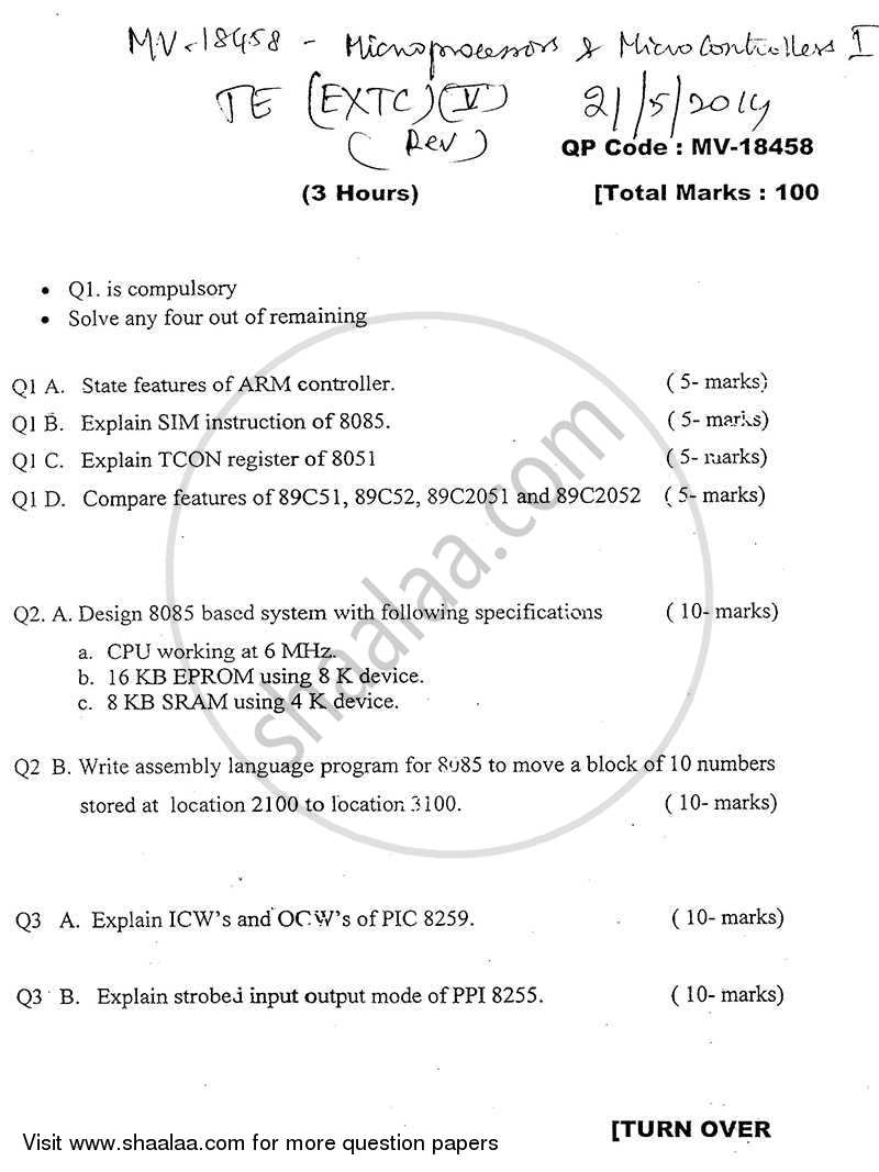 Question Paper - Microprocessors and Microcontrollers 1 2013 - 2014 - B.E. - Semester 5 (TE Third Year) - University of Mumbai