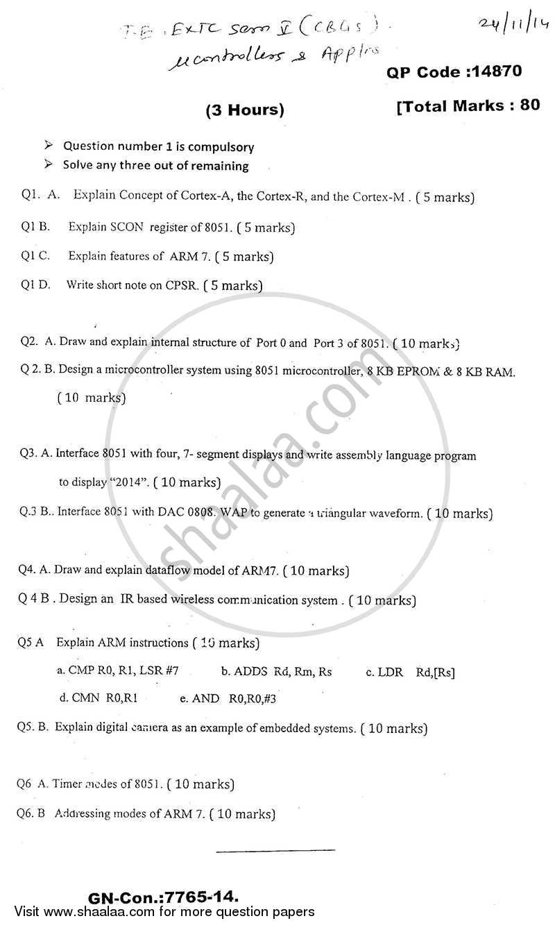 Microprocessors and Microcontrollers 1 2014-2015 - B.E. - Semester 5 (TE Third Year) - University of Mumbai question paper with PDF download