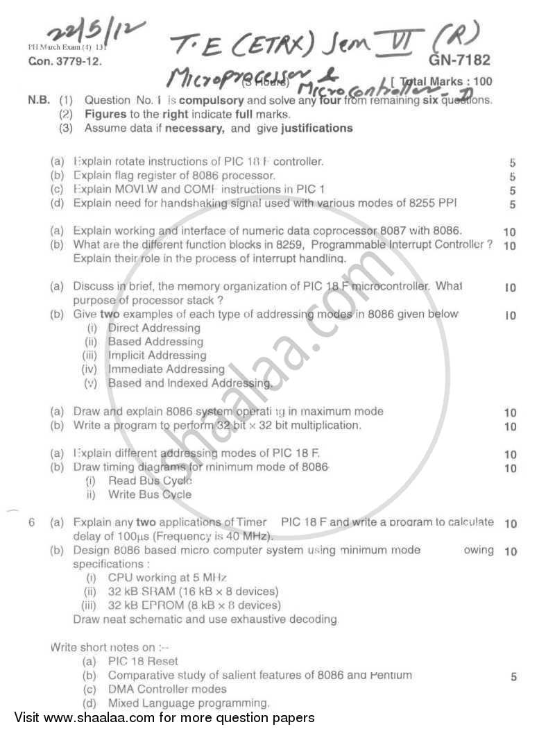 Question Paper - Microprocessors and Microcontrollers 2 2011 - 2012 - B.E. - Semester 6 (TE Third Year) - University of Mumbai