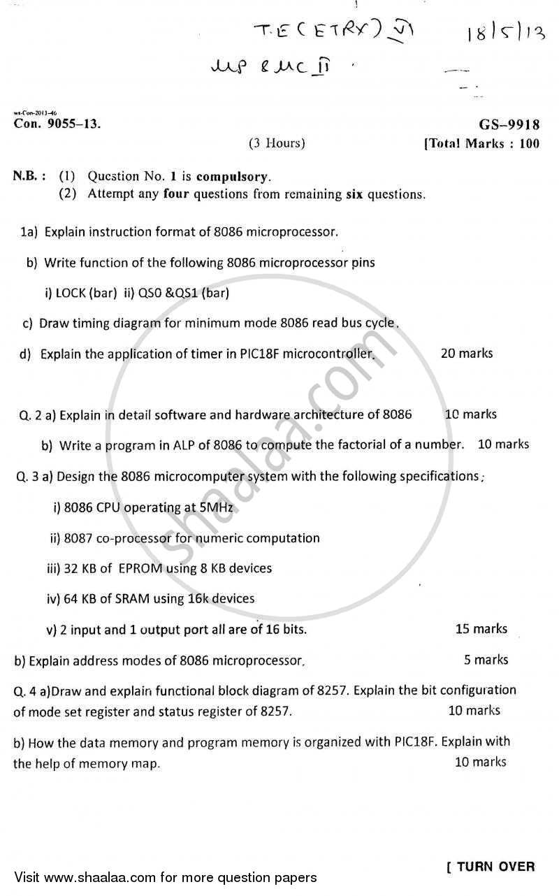Question Paper - Microprocessors and Microcontrollers 2 2012 - 2013 - B.E. - Semester 6 (TE Third Year) - University of Mumbai