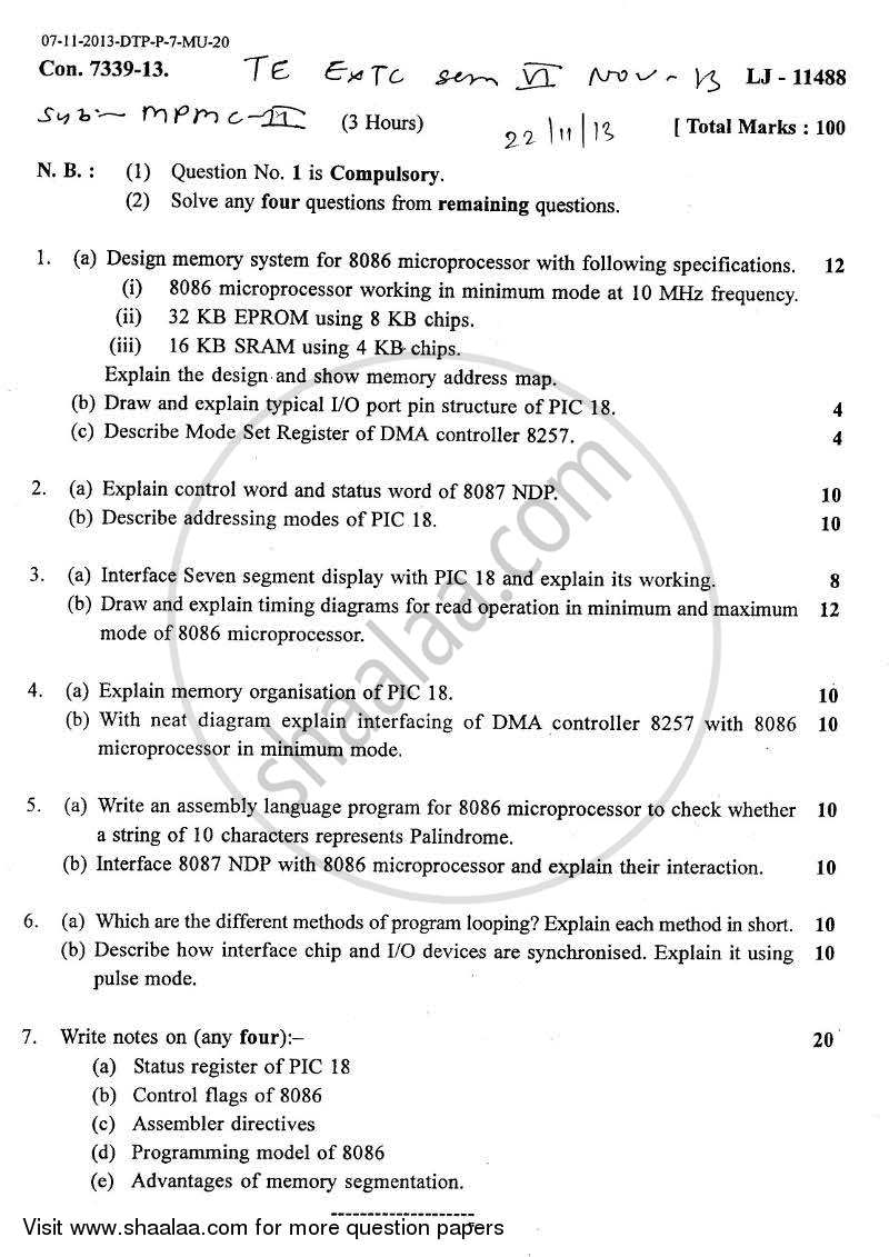 Question Paper - Microprocessors and Microcontrollers 2 2013 - 2014 - B.E. - Semester 6 (TE Third Year) - University of Mumbai