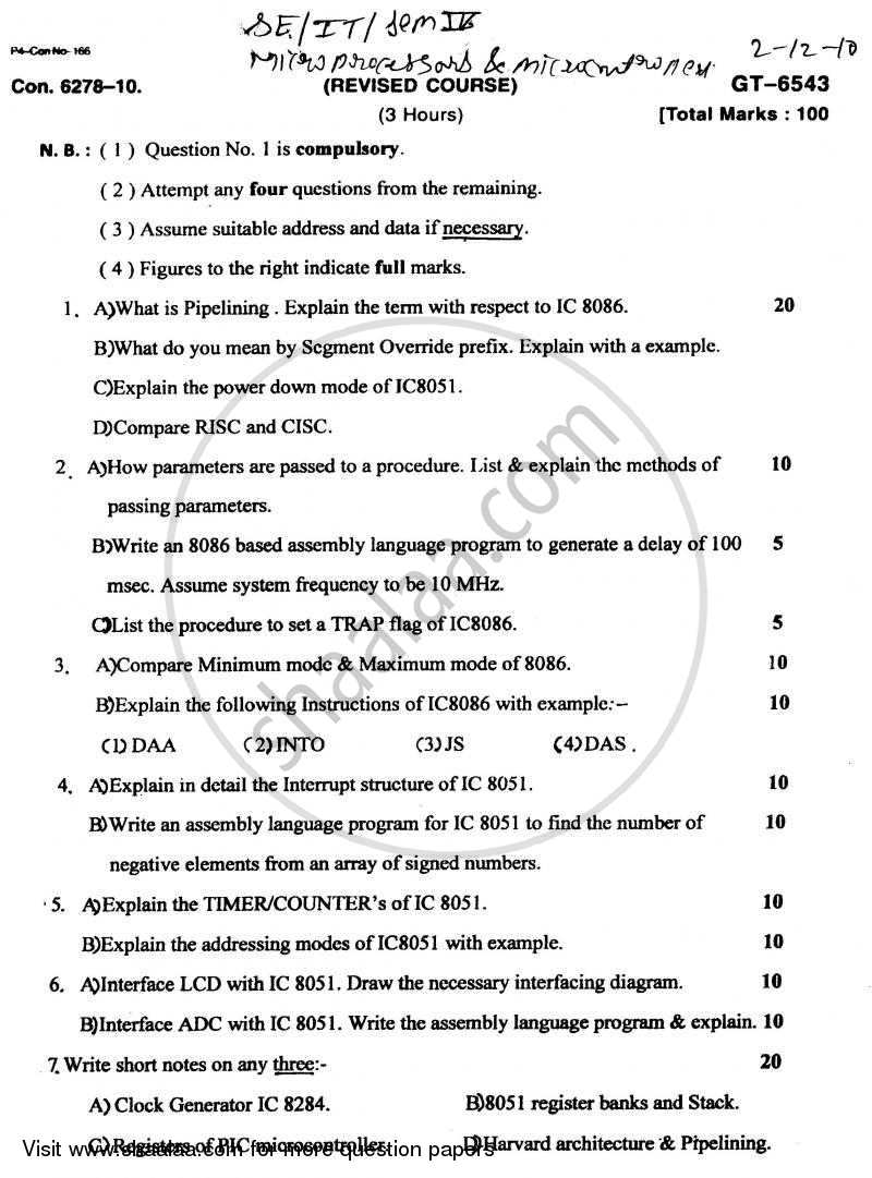 Question Paper - Microprocessors and Microcontrollers 2010 - 2011 - B.E. - Semester 4 (SE Second Year) - University of Mumbai