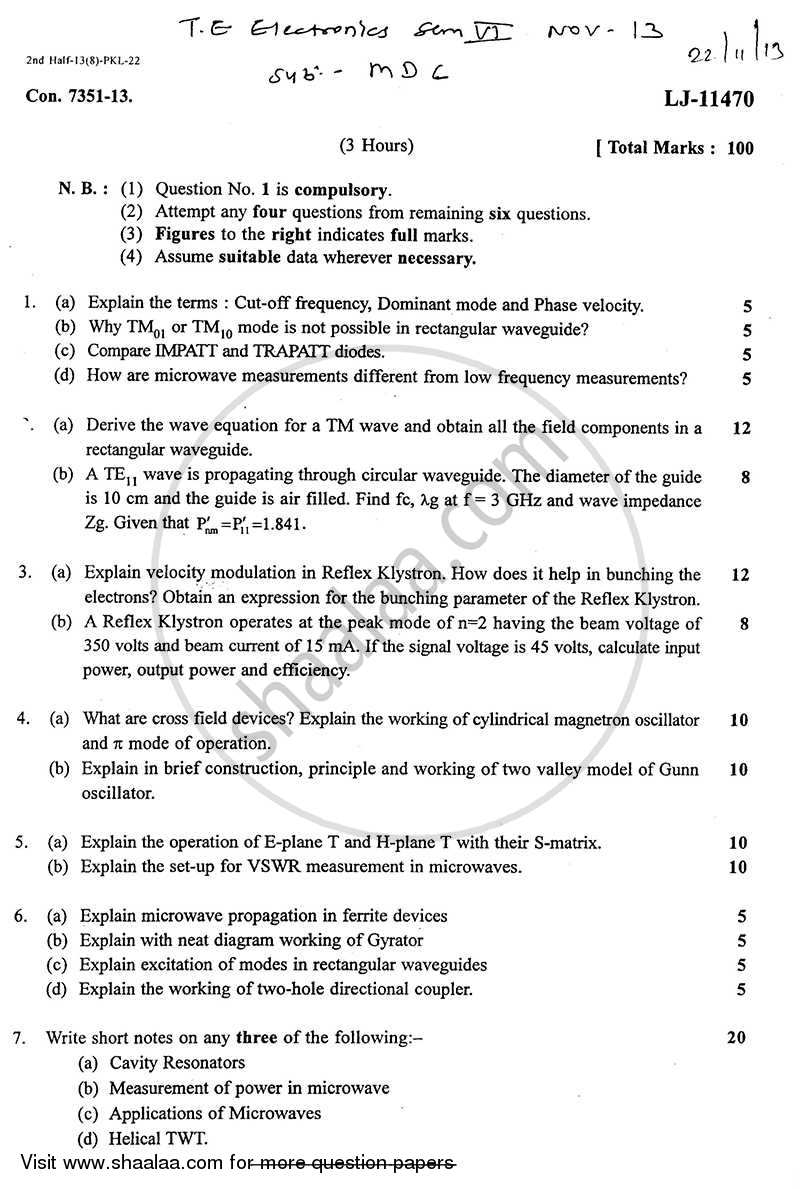 Question Paper - Microwave Devices and Circuits 2013 - 2014 - B.E. - Semester 6 (TE Third Year) - University of Mumbai
