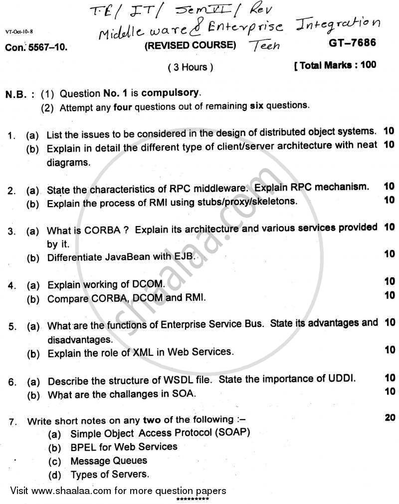 Question Paper - Middleware and Enterprise Integration Technologies 2010 - 2011 - B.E. - Semester 6 (TE Third Year) - University of Mumbai