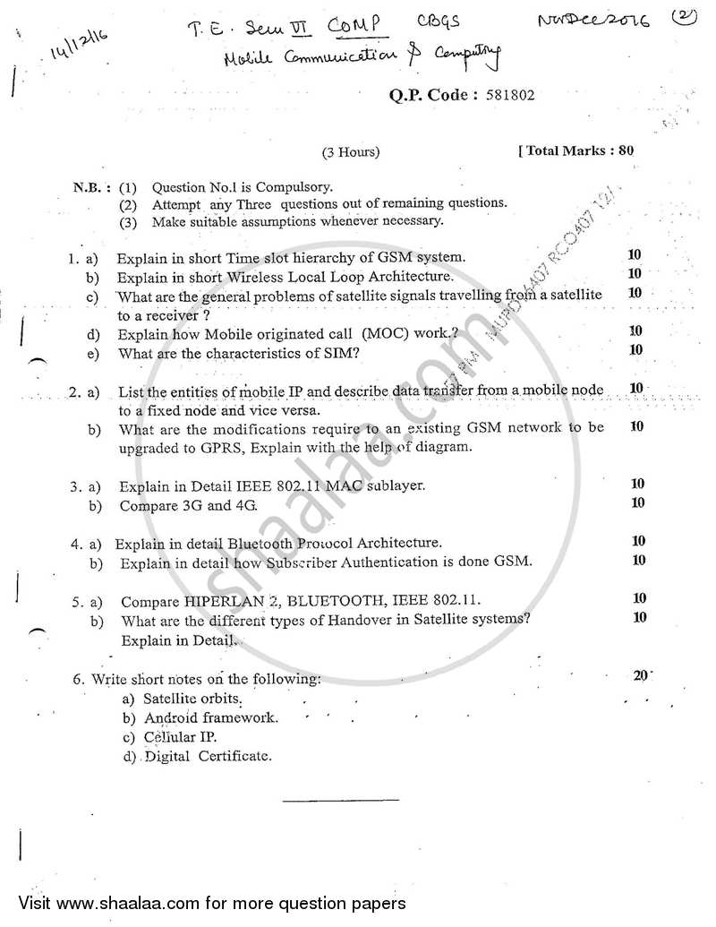 Question Paper Be Computer Engineering Semester 6 Te Third Year