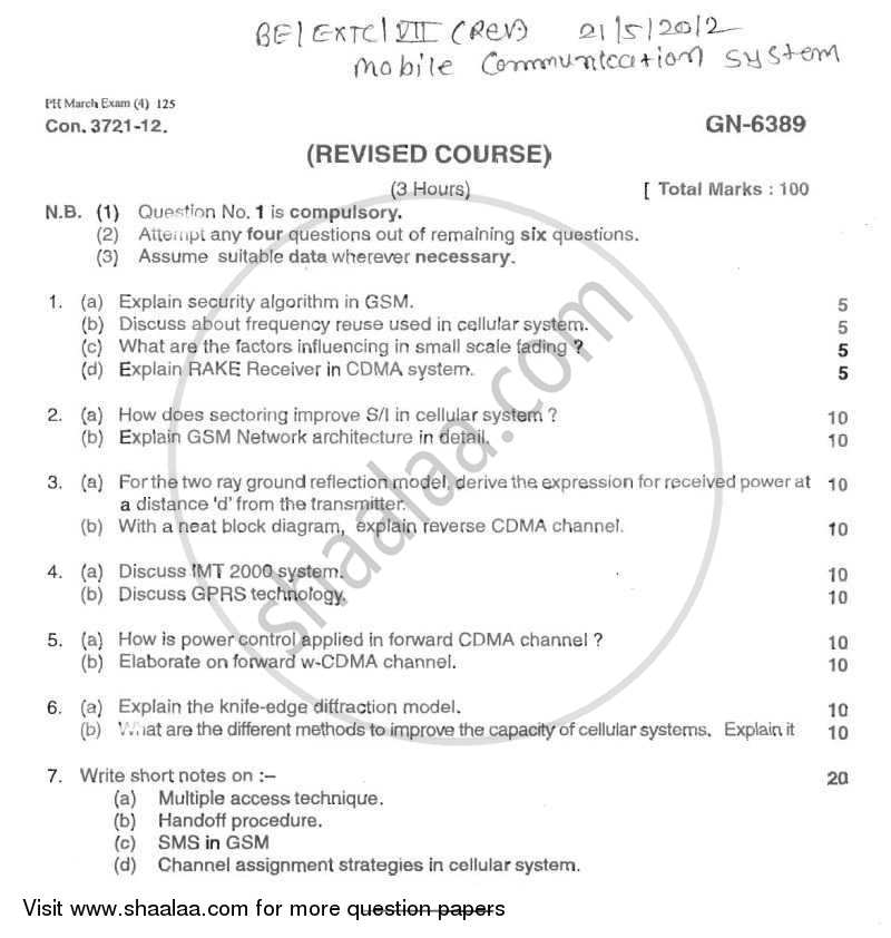 Question Paper - Mobile Communication Systems 2011 - 2012 - B.E. - Semester 7 (BE Fourth Year) - University of Mumbai