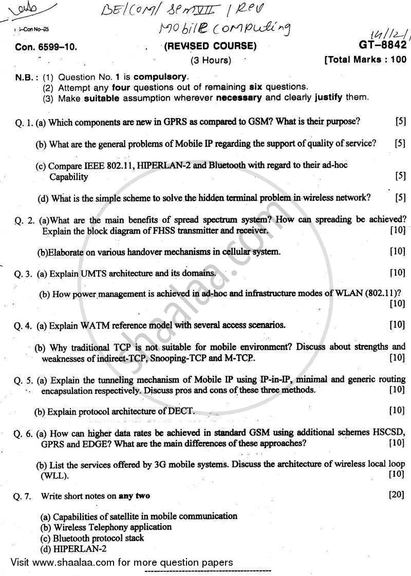 Question Paper - Mobile Computing 2010 - 2011-B.E.-Semester 7 (BE Fourth Year) University of Mumbai