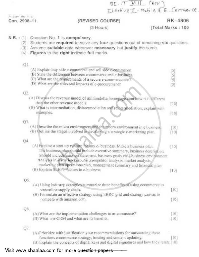Question Paper - Mobile and E-Commerce 2010 - 2011 - B.E. - Semester 8 (BE Fourth Year) - University of Mumbai