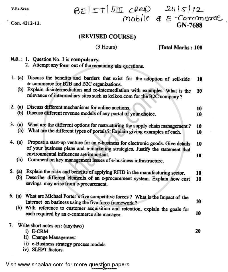 Question Paper - Mobile and E-Commerce 2011 - 2012 - B.E. - Semester 8 (BE Fourth Year) - University of Mumbai