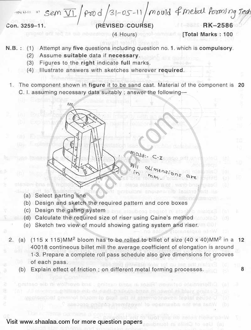 Question Paper - Mould and Metal Forming Technology 2010 - 2011 - B.E. - Semester 6 (TE Third Year) - University of Mumbai