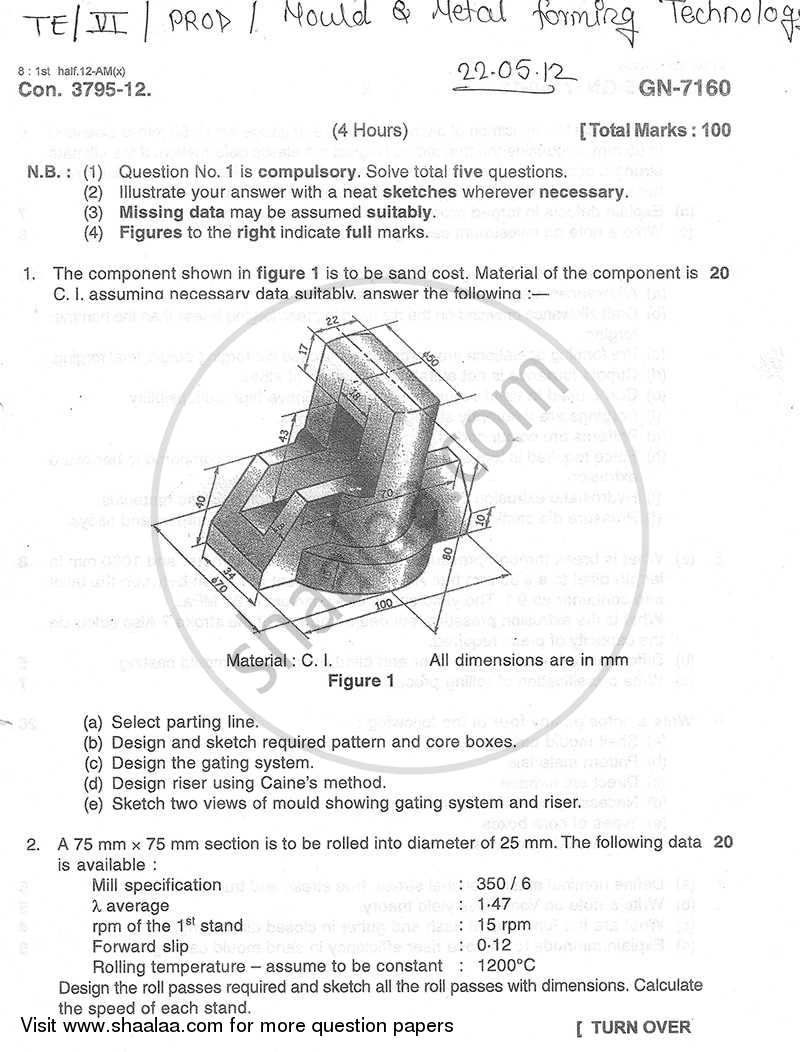 Question Paper - Mould and Metal Forming Technology 2011 - 2012 - B.E. - Semester 6 (TE Third Year) - University of Mumbai