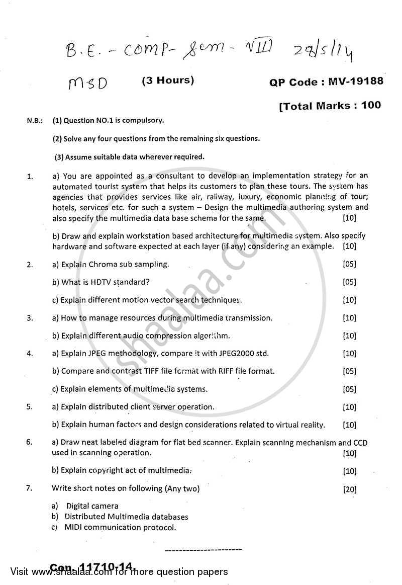Question Paper - Multimedia System Design 2013 - 2014 - B.E. - Semester 8 (BE Fourth Year) - University of Mumbai