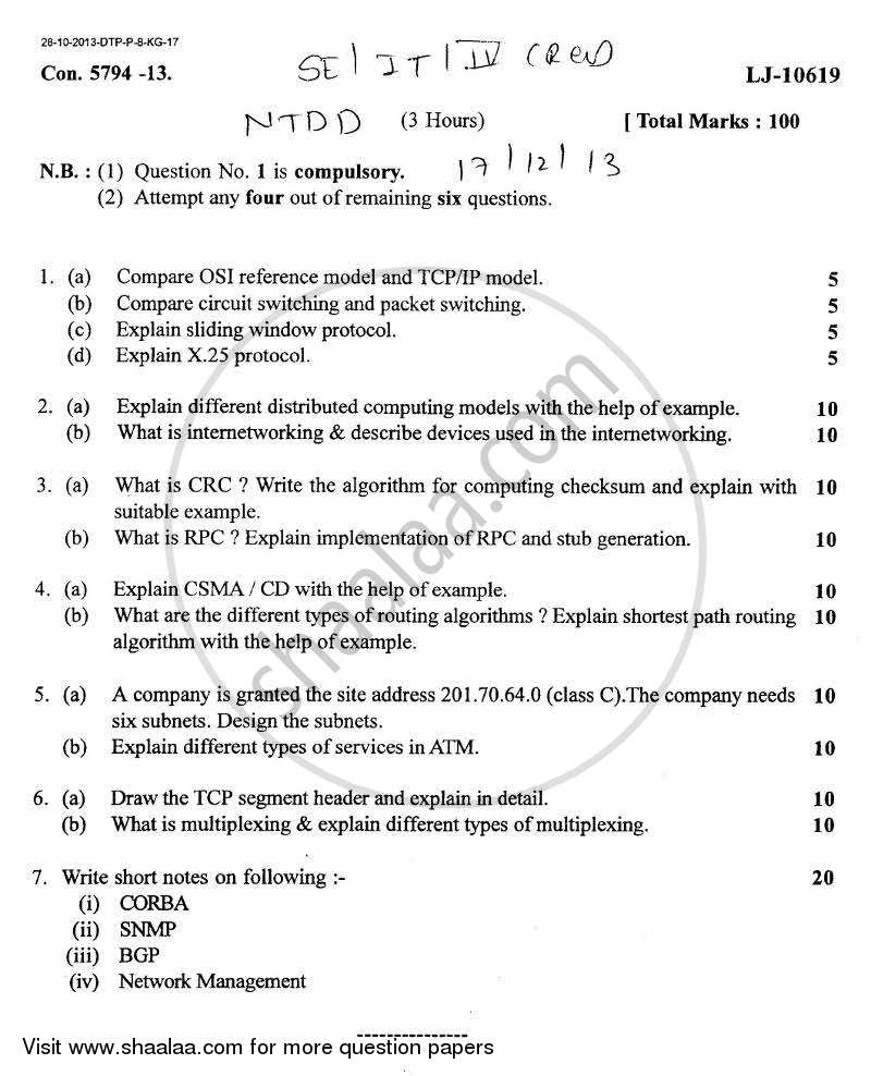 Question Paper - Networking Technology for Digital Devices 2013 - 2014-B.E.-Semester 4 (SE Second Year) University of Mumbai