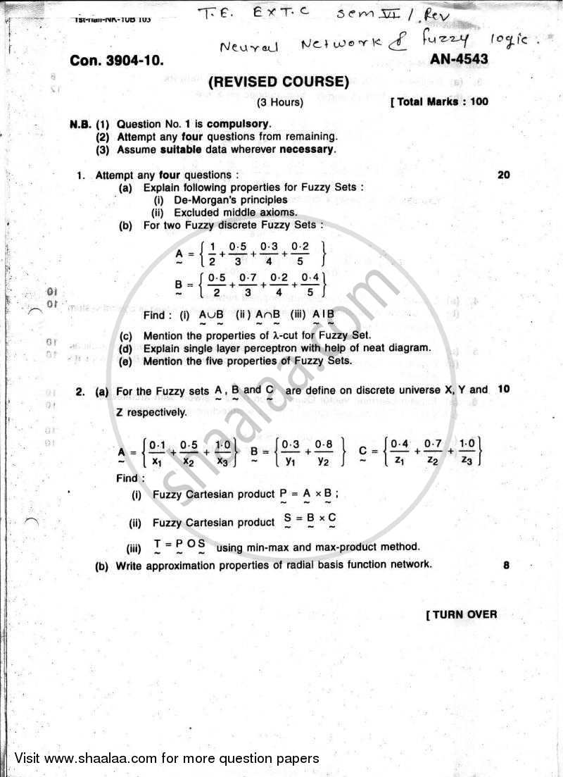 Question Paper - Neural Networks and Fuzzy Systems 2009 - 2010 - B.E. - Semester 6 (TE Third Year) - University of Mumbai