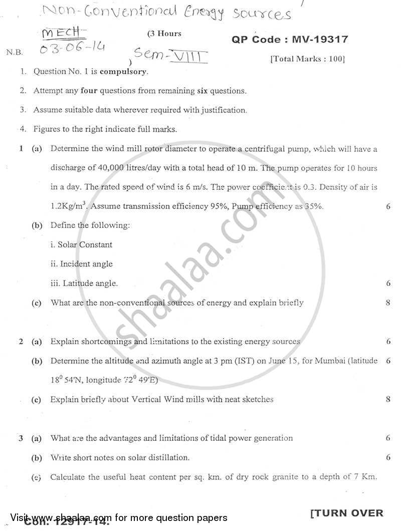 Question Paper - Non Conventional Energy Sources 2013 - 2014 - B.E. - Semester 8 (BE Fourth Year) - University of Mumbai