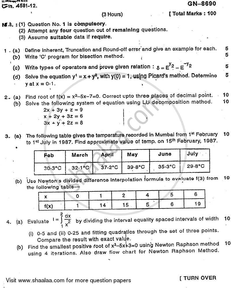 Question Paper - Numerical Methods and Optimization Techniques 2011 - 2012 - B.E. - Semester 4 (SE Second Year) - University of Mumbai