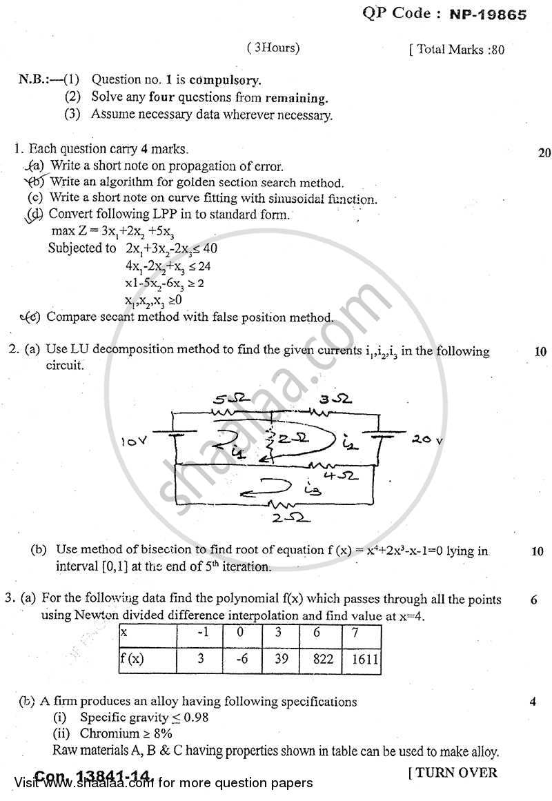 Question Paper - Numerical Methods and Optimization Techniques 2013 - 2014 - B.E. - Semester 4 (SE Second Year) - University of Mumbai