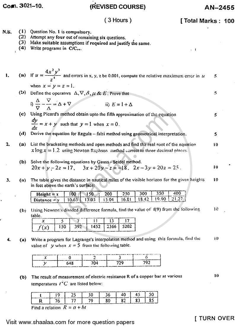 Question Paper - Numerical Techniques 2009 - 2010 - B.E. - Semester 3 (SE Second Year) - University of Mumbai