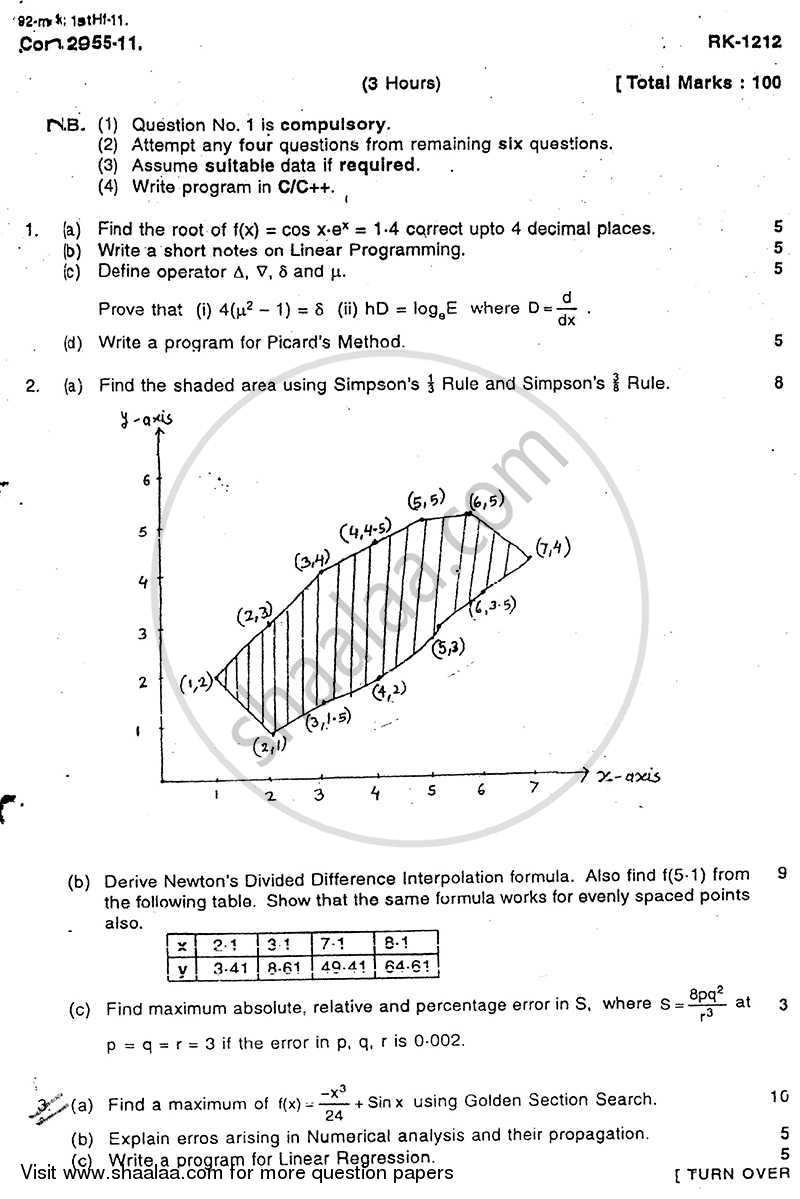 Question Paper - Numerical Techniques 2010 - 2011 - B.E. - Semester 3 (SE Second Year) - University of Mumbai