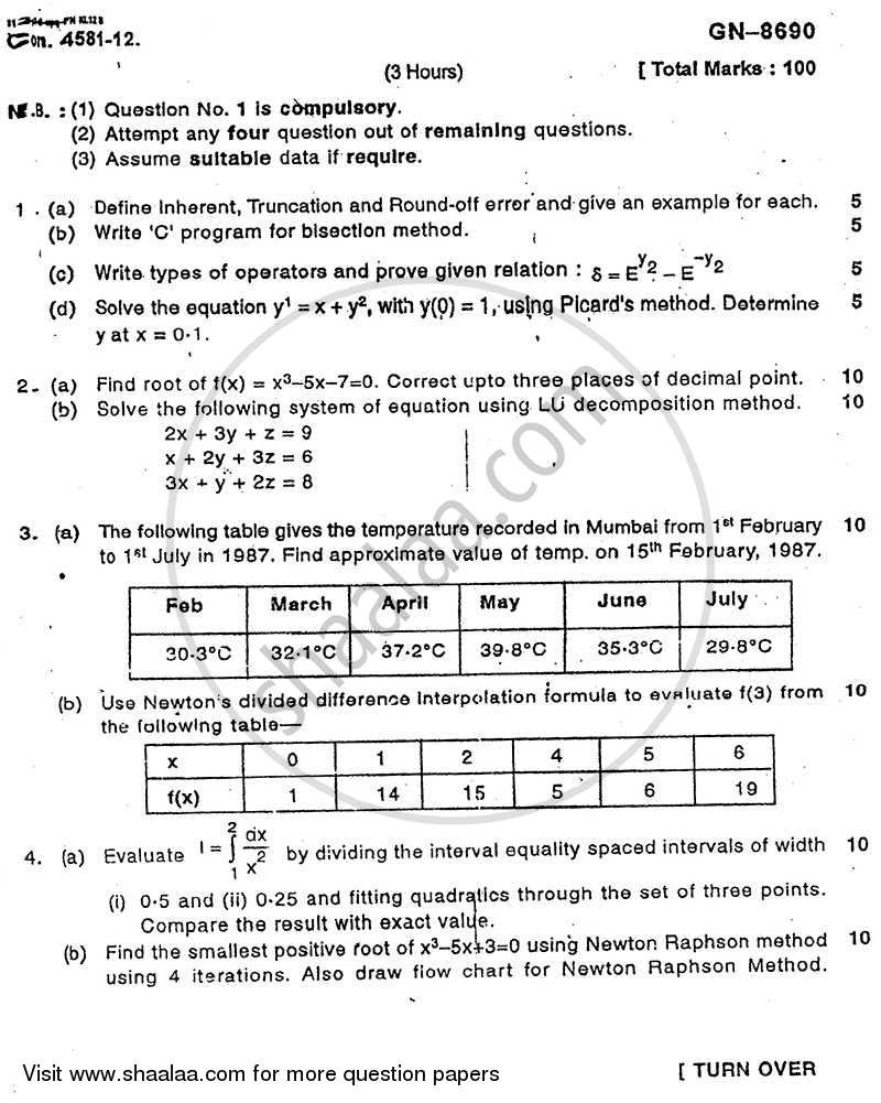 Question Paper - Numerical Techniques 2011 - 2012 - B.E. - Semester 3 (SE Second Year) - University of Mumbai