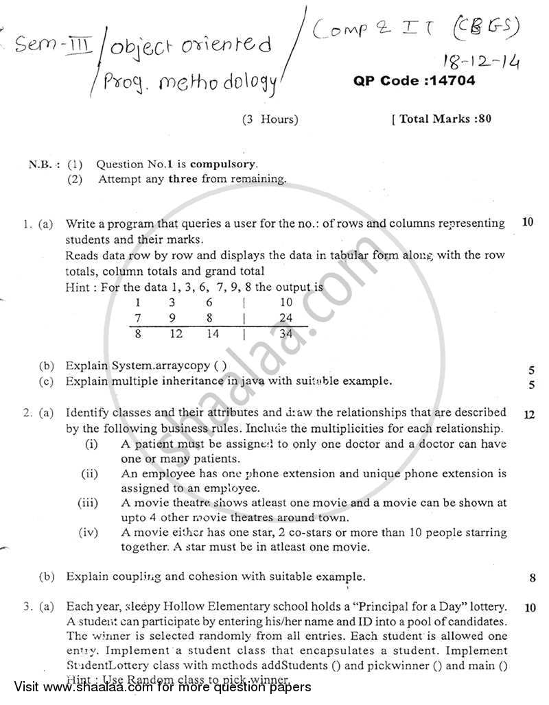 Question Paper - Object Oriented Programming Methodology 2014 - 2015 - B.E. - Semester 3 (SE Second Year) - University of Mumbai