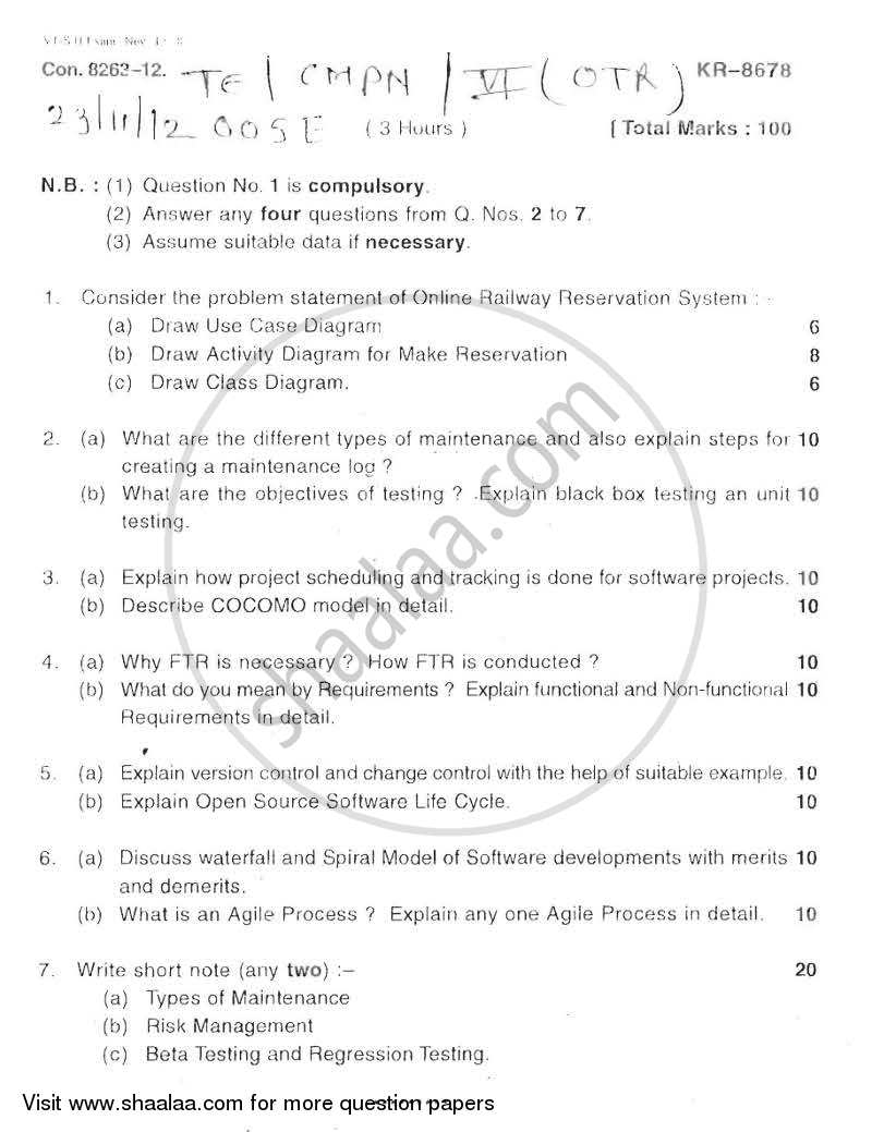 Question Paper - Object Oriented Software Engineering 2012 - 2013 - B.E. - Semester 6 (TE Third Year) - University of Mumbai