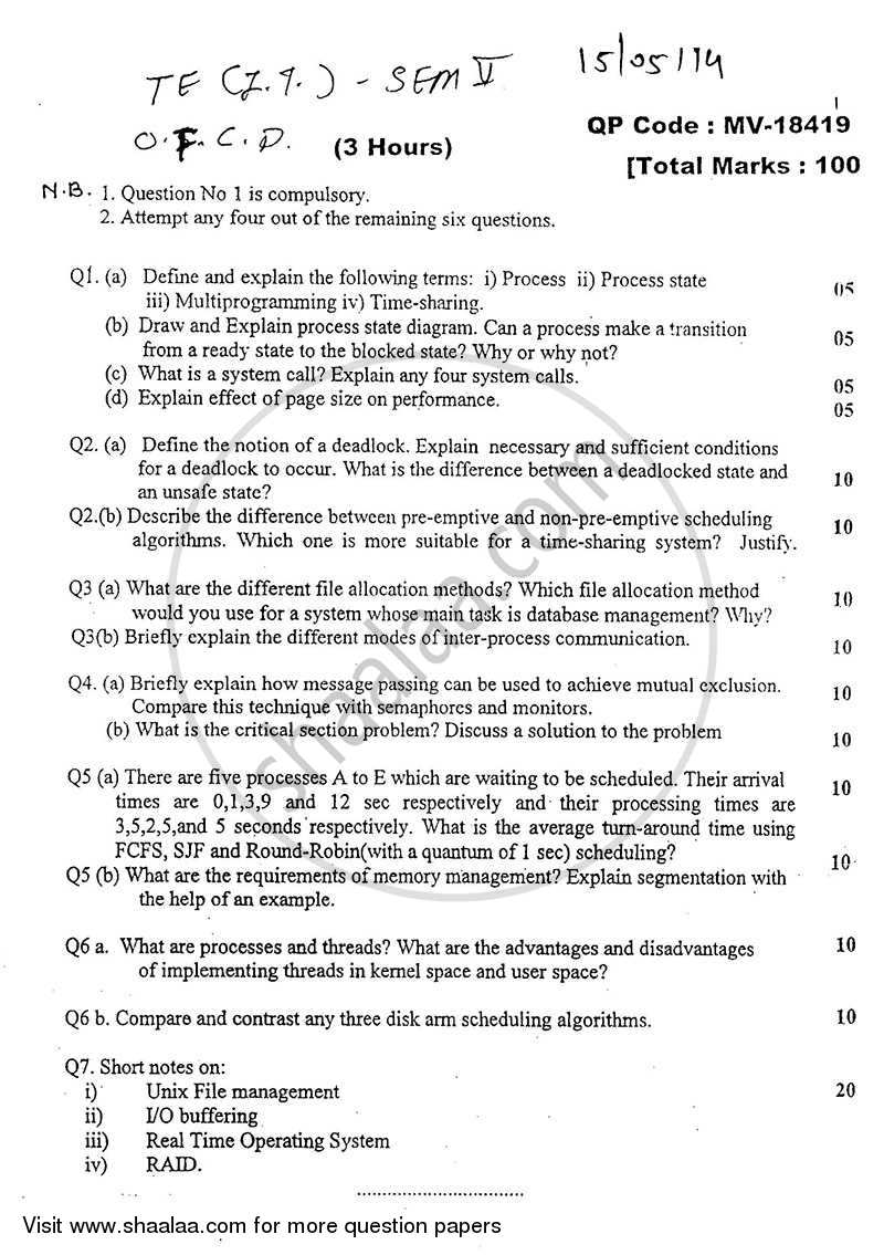 Question Paper - Operating System for Computational Devices 2013 - 2014-B.E.-Semester 5 (TE Third Year) University of Mumbai
