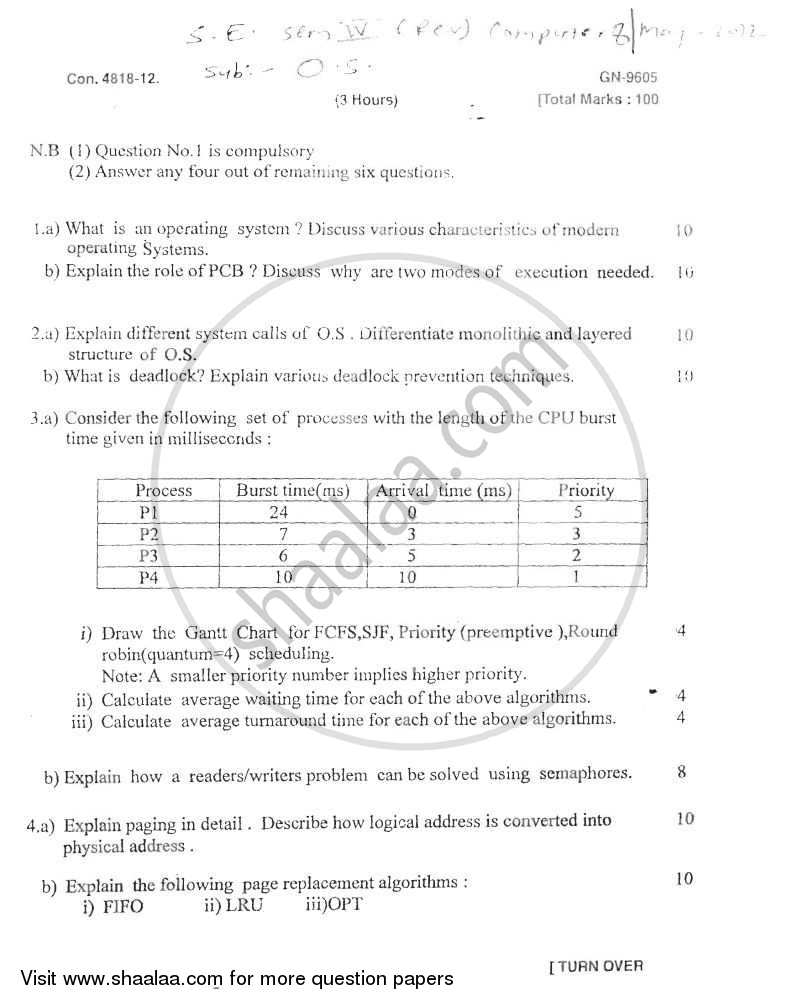 Question Paper - Operating Systems 2011 - 2012 - B.E. - Semester 4 (SE Second Year) - University of Mumbai