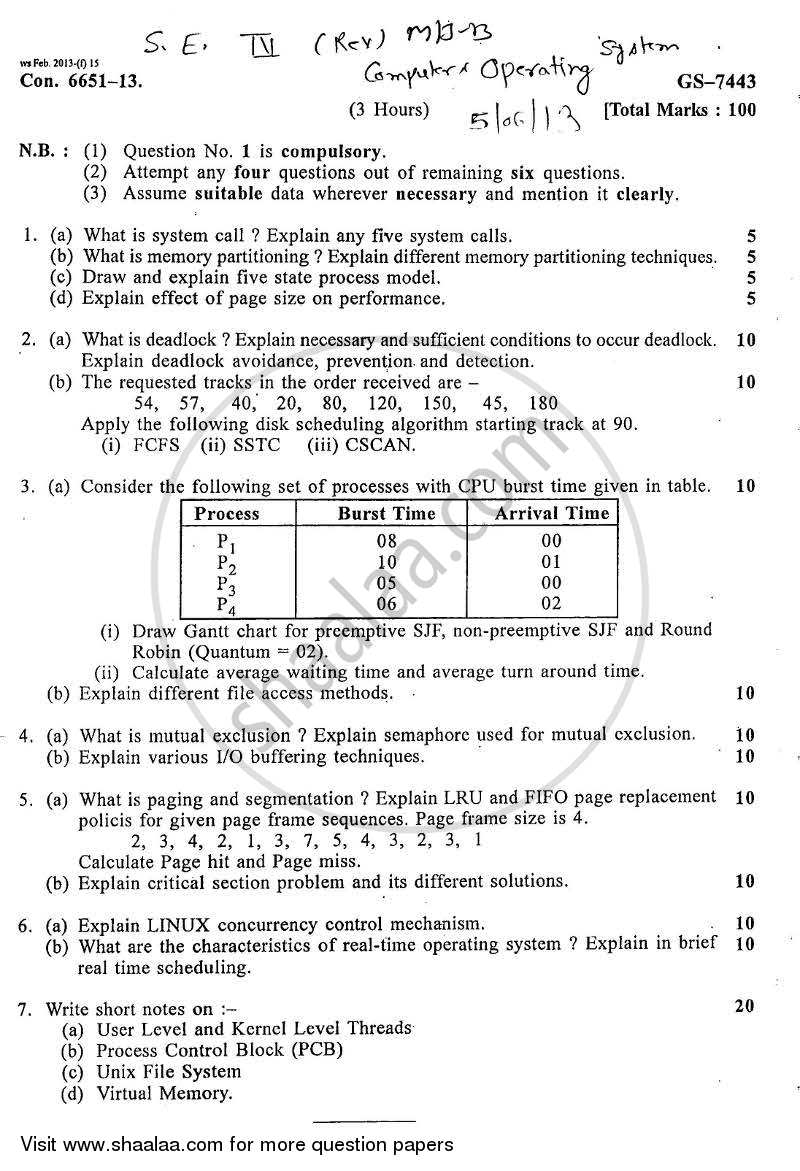 Question Paper - Operating Systems 2012 - 2013 - B.E. - Semester 4 (SE Second Year) - University of Mumbai