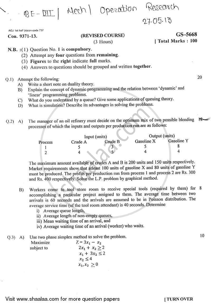 Question Paper - Operations Research 2012 - 2013 - B.E. - Semester 7 (BE Fourth Year) - University of Mumbai