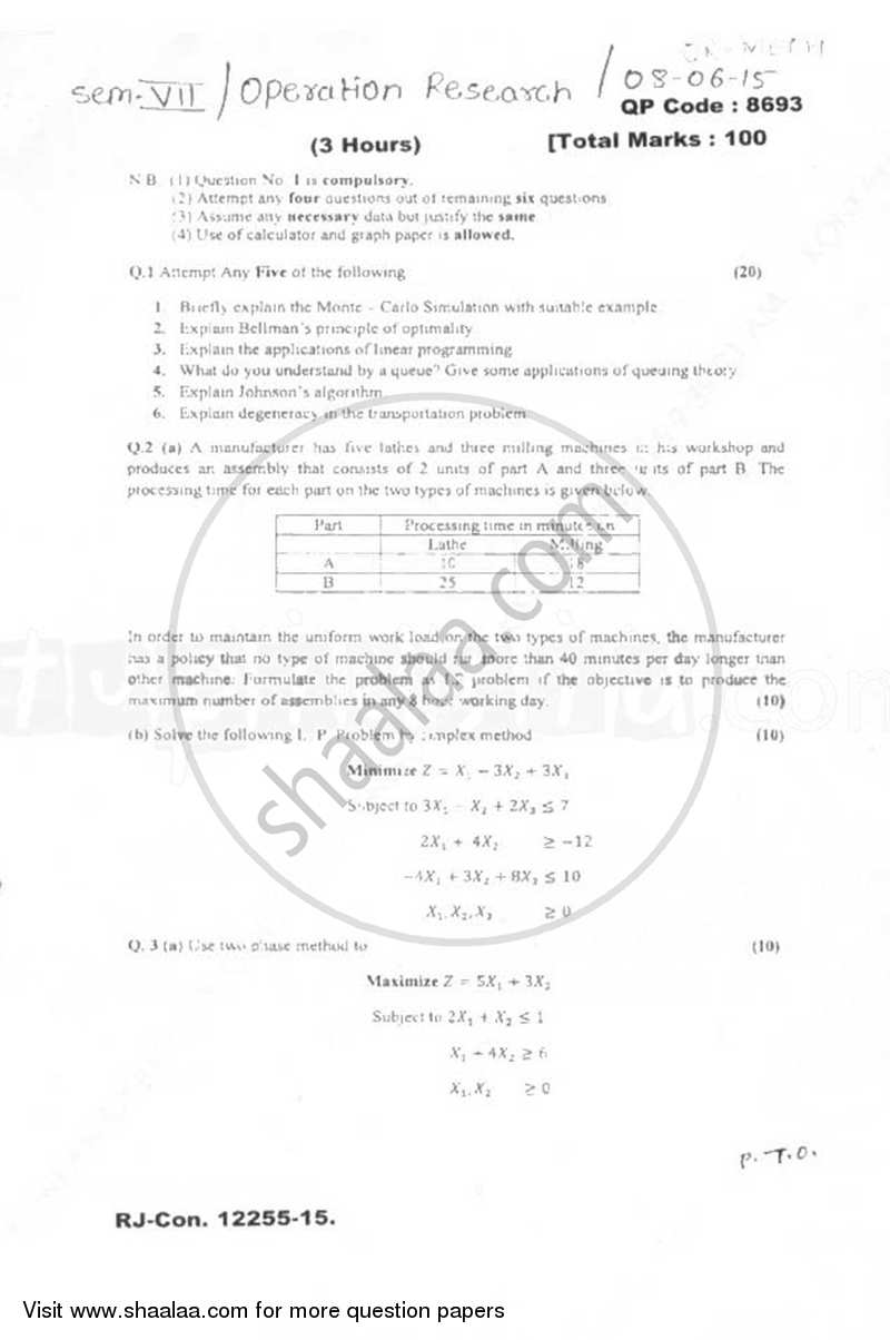 Question Paper - Operations Research 2014 - 2015 - B.E. - Semester 7 (BE Fourth Year) - University of Mumbai