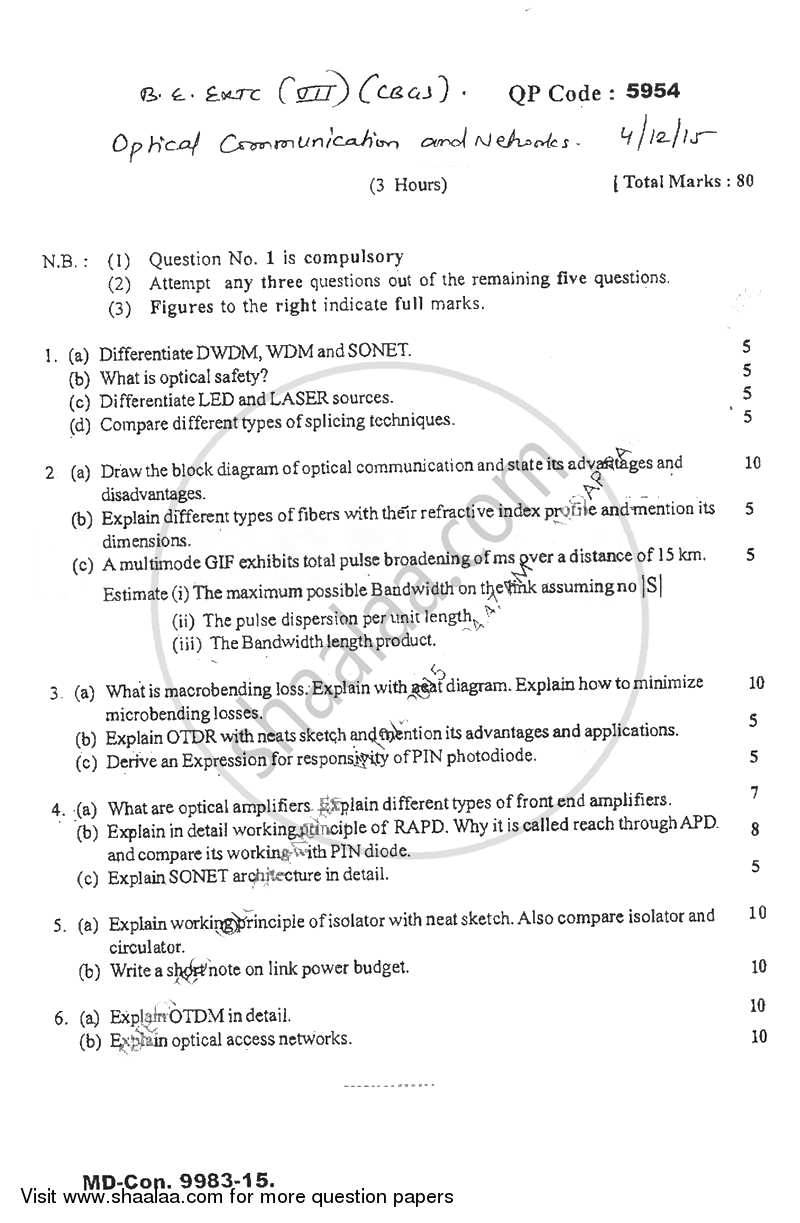 Question Paper - Optical Communication and Networks 2015 - 2016 - B.E. - Semester 7 (BE Fourth Year) - University of Mumbai