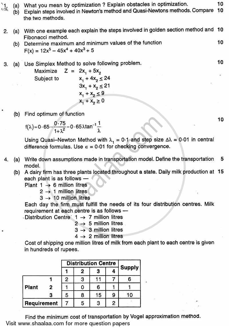 Question Paper - Optimization and Operation Research 2010 - 2011 - B.E. - Semester 6 (TE Third Year) - University of Mumbai