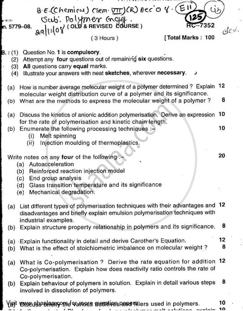 Question Paper - Polymer Engineering 2008 - 2009 - B.E. - Semester 7 (BE Fourth Year) - University of Mumbai