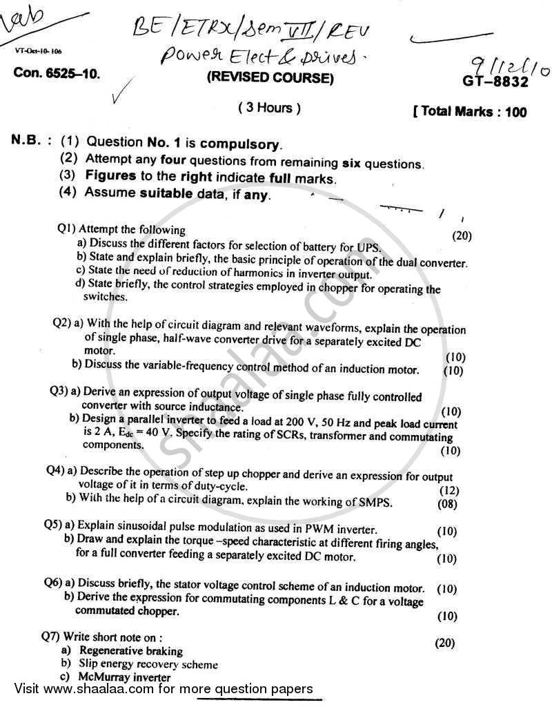 Question Paper - Power Electronic and Drives 2010 - 2011 - B.E. - Semester 7 (BE Fourth Year) - University of Mumbai