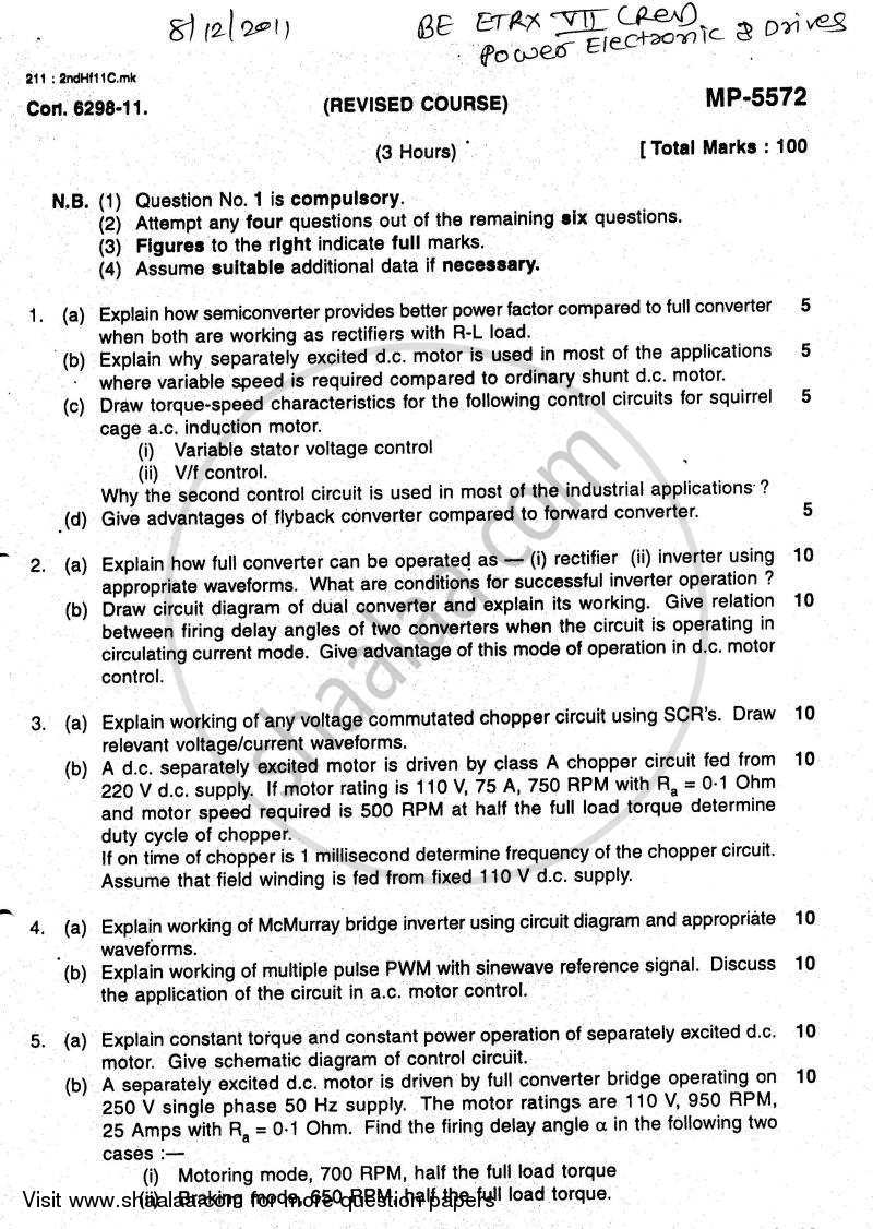 Question Paper - Power Electronic and Drives 2011 - 2012 - B.E. - Semester 7 (BE Fourth Year) - University of Mumbai