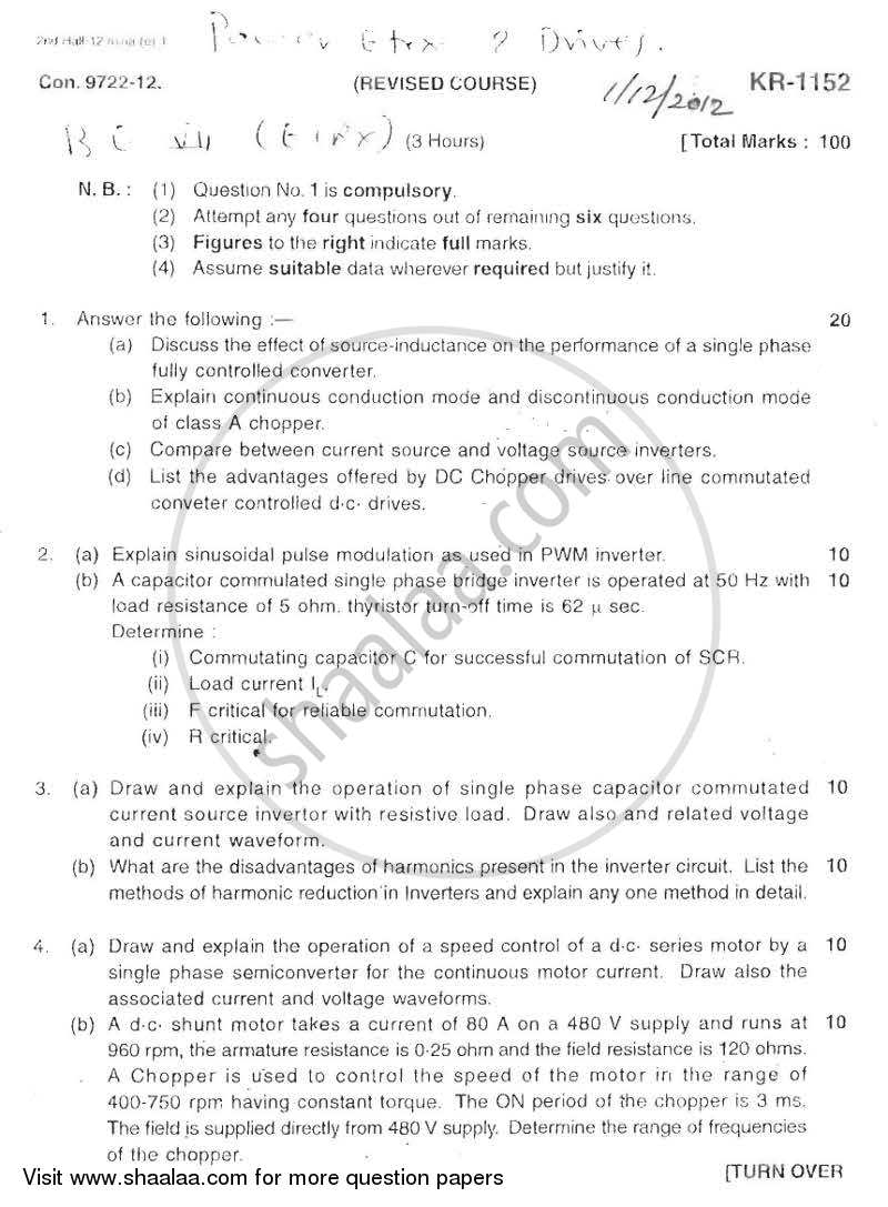 Question Paper - Power Electronic and Drives 2012 - 2013 - B.E. - Semester 7 (BE Fourth Year) - University of Mumbai