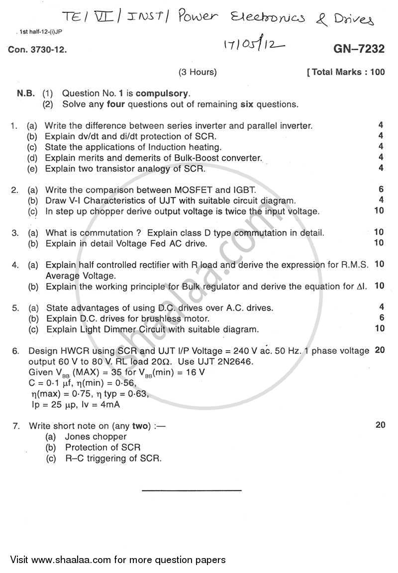 Question Paper - Power Electronics and Drives 2011 - 2012 - B.E. - Semester 6 (TE Third Year) - University of Mumbai